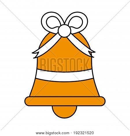 Flat line ornamental bell over white background vector illustration