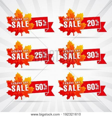 Happy Canada Day vector sale template. Traditional holiday discounts. Maple leaves, white background, light stripes, celebrating % off labels. Web banners, first of July offer icons.