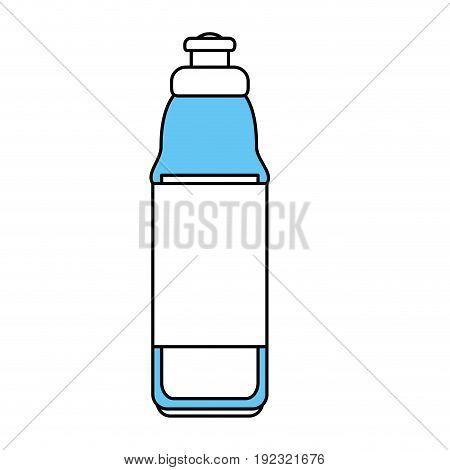 Flat line water bottle over white background vector illustration