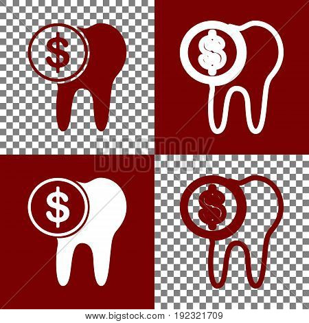The cost of tooth treatment sign. Vector. Bordo and white icons and line icons on chess board with transparent background.