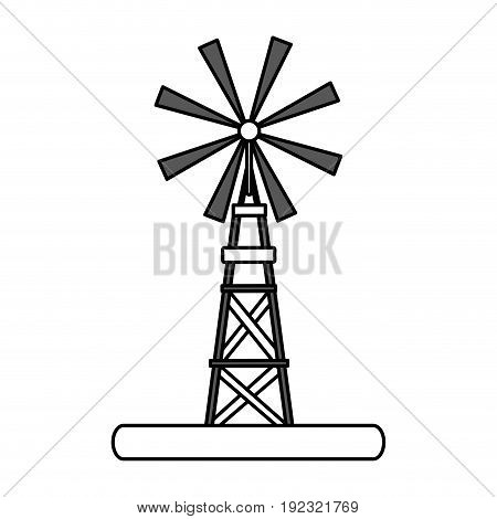 Flat line windmill over white background vector illustration