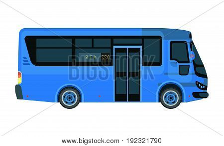Airport bus or tour transport with number 022 in blue color isolated on white. Vector close up illustration in flat design of fast mean of transportation for carrying passengers to destinations