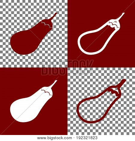 Eggplant sign. Salad ingredient. Healthy vegetable. Vector. Bordo and white icons and line icons on chess board with transparent background.