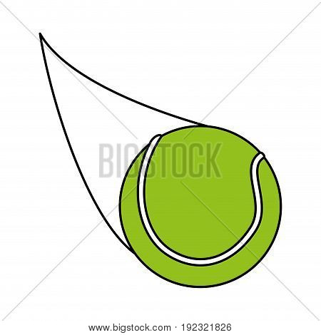 Flat line tennis ball over white background vector illustration