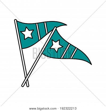 Flat line pennants over white background vector illustration