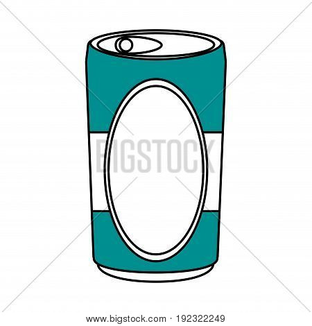 Flat line soda can  over white background vector illustration