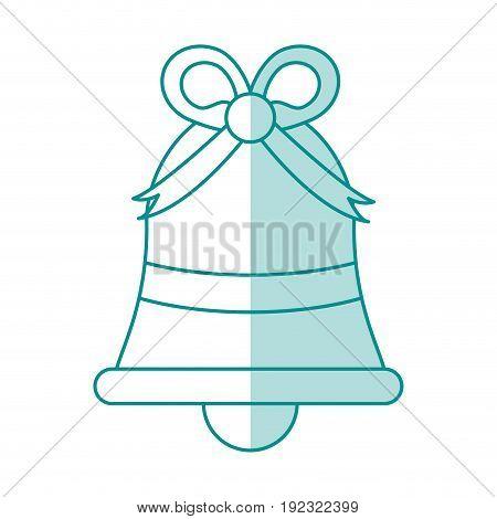 Flat line monocromatic ornamental bell over white background vector illustration