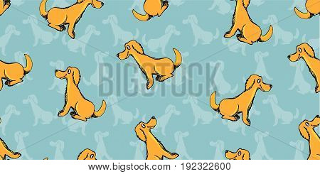 Vector Of Child Freehand Drawing Style Of Cute Cartoon Dog Puppies Seamless Pattern On Green Backgro