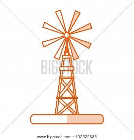 Flat line monocromatic windmill over white background vector illustration