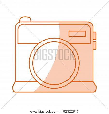 Flat line monocromatic vintage camera over white background vector illustration
