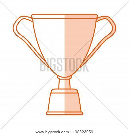 Flat line monocromatic cup trophy over white background vector illustration