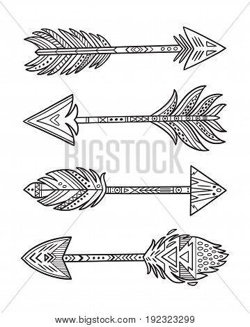 Native American Navajo arrows in outline. Vector contour illustration.