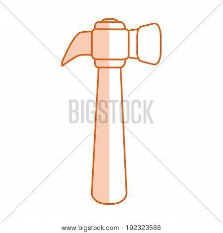 Flat line monocromatic hammer over white background vector illustration