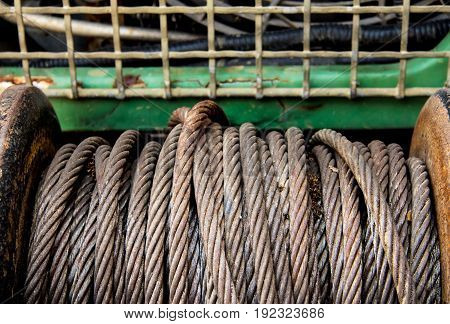 Old Sling Cable Of Electric Winch In Front Of 4Wd Car