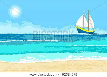 Summer sea view with cartoon sailboat. Seaside background for flyer banner greeting card and invitation
