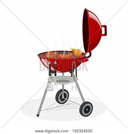 barbecue grill. Picnic camping cooking. BBQ party isolated on white background. Vector illustration in flat style