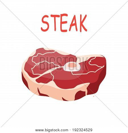Fresh crude pork meat steak vector isolated on white background. Vector illustration in flat style