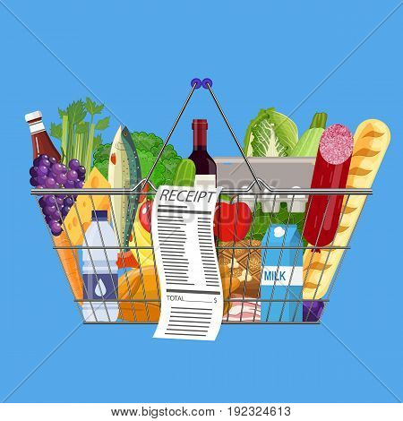 metal shopping basket full of groceries products and receipt. Grocery store. Supermarket. Fresh organic food and drinks. Vector illustration in flat style