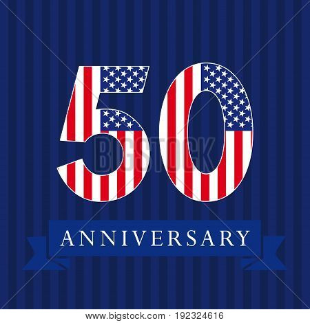 Anniversary 50 US flag logotype. Template of celebrating 50 th. Isolated numbers in traditional style on striped abstract blue background. United States greetings or sticker, five, 0 or letter O.