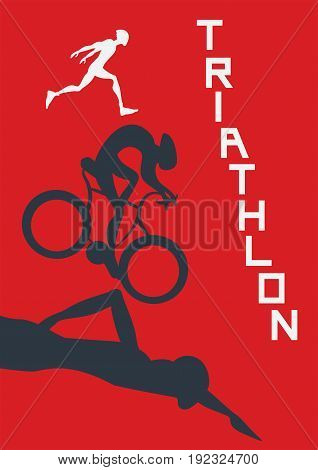 Poster for triathlon competitions. Vector illustration with runner, cyclist and swimmer on red background.