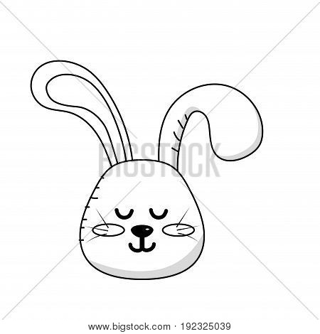 line teddy rabbit boy head animal wild vector illustration