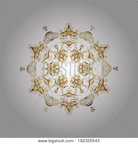 Flat design with abstract snowflakes isolated on white background. Vector snowflakes background. Snowflakes pattern. Golden snowflake.