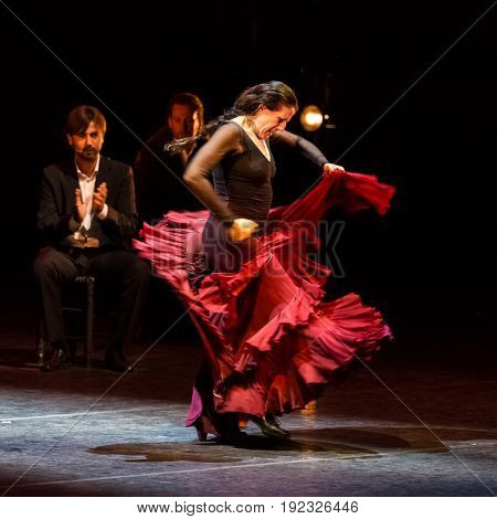 Ljubljana, Slovenia - July 16 Maria Jesus Pages Madrigal  famous modern Spanish flamenco dancer and choreographer based in Madrid Spain, performing on July 16 2014 in Ljubljana Slovenia.