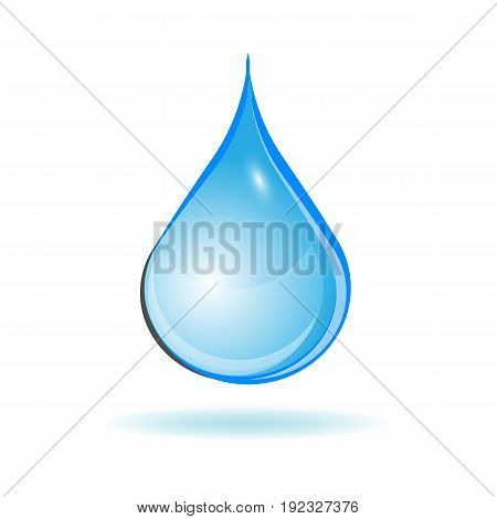 One Blue water drop isolated on white background. vector