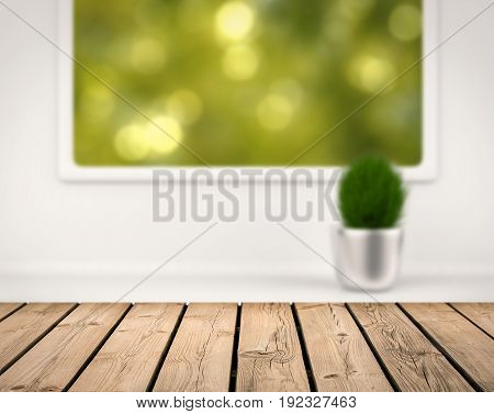 Wooden Counter With Greenery View From Window