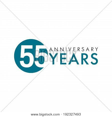 55 years old round logo. Anniversary year of 55 th vector numbers. Greetings, ribbon, celebrates. Celebrating congratulating 5th place, 55th key shape idea. Colored traditional digital logotype of ages or % off.