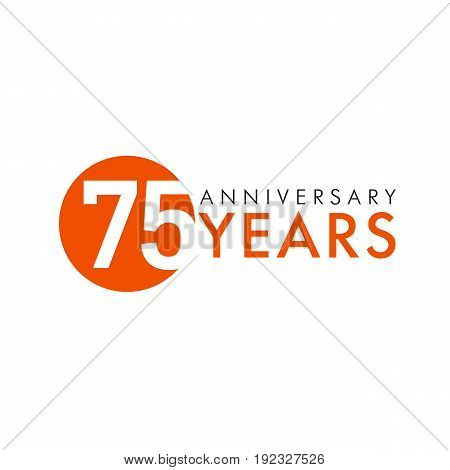 75 years old round logo. Anniversary year of 75 th vector numbers. Greetings, ribbon, celebrates. Celebrating 7th place, key shape idea. Colored traditional digital logotype of ages or % off.