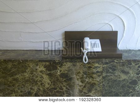 telephone on working table in room service network.