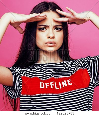 young cute disco girl on pink background smiling adorable emotions copyspace, lifestyle people concept close up