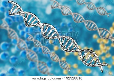 3d rendering silver dna structure on abstract background