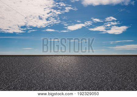 3d rendering roadside with blue sky background