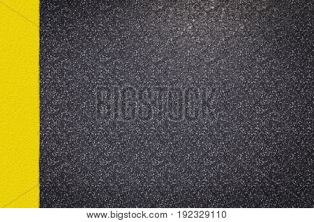 3d rendering asphalt road top view with yellow lines