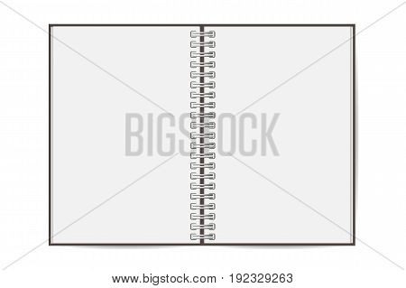 Blank realistic opened spiral notebook isolated on white background. Vertical copybook. Template mock up of organizer or diary. Vector
