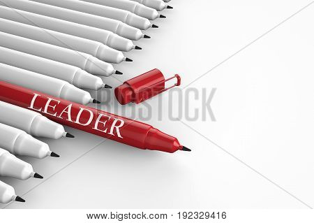 leadership concept with 3d rendering red pen among white pens