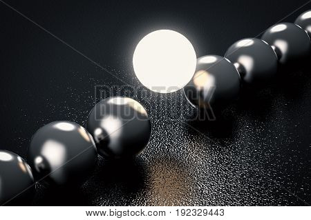 leadership concept with 3d rendering light up sphere