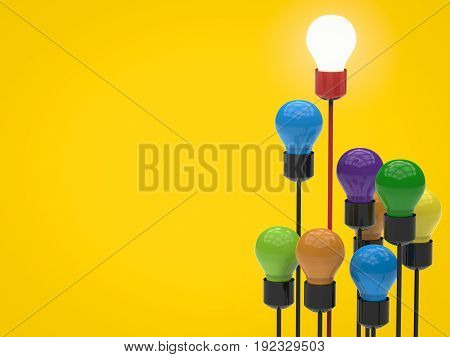 leadership concept with 3d rendering light up lightbulb