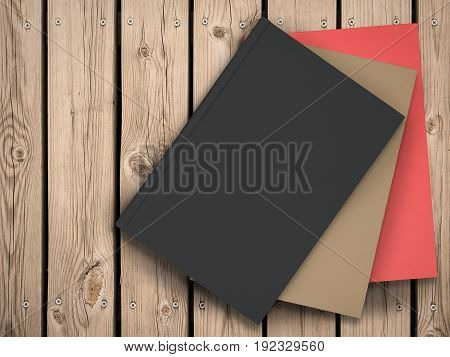 3d rendering stack of colorful blank books on wood table
