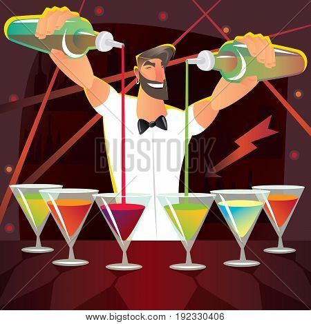 Fun Bartender Preparing Several Cocktails At Party