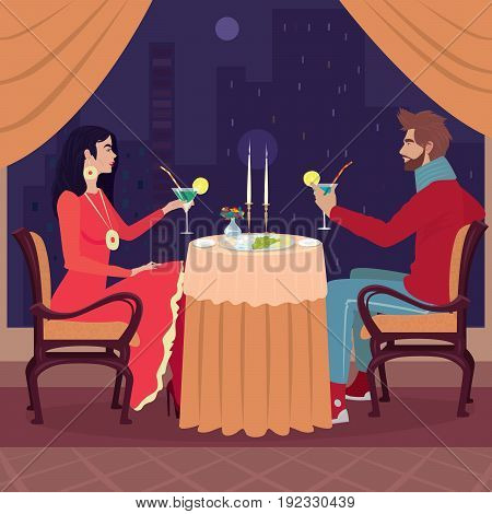 Girl And Guy At Restaurant With Raised Glasses