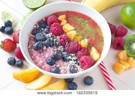 Healthy breakfast. Bowl of yogurt  with fruits