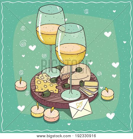 Composition With White Wine Glasses And Cheese