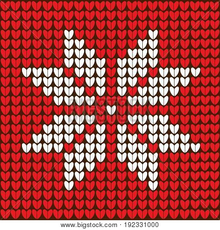 Knitted red Christmas background with snowflake. vector