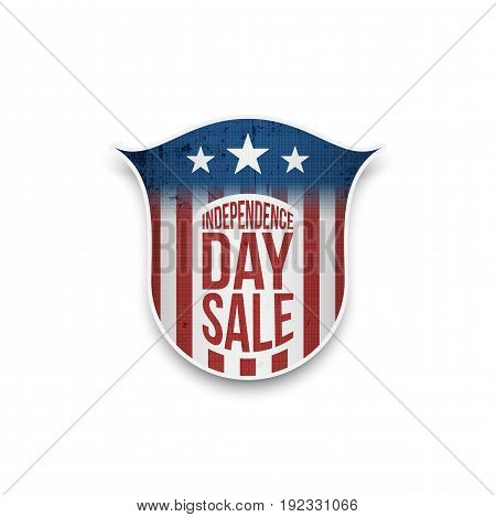 Independence Day Sale Star-Striped Badge for Your Design. Vector Holiday Illustration