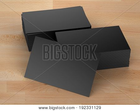 Stack Of Black Name Cards