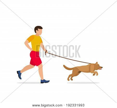 Man walking or running with a dog. Vector illustration.