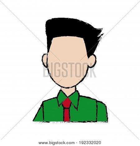 profile man character business employee cartoon vector illustration